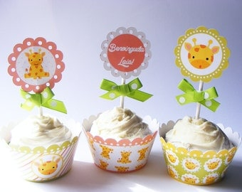 Set of  6 WRAPPERS & TOPPERS Giraffe theme.