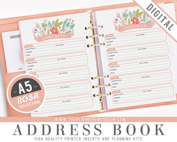a5 address book inserts rosa collection fits kikki k large