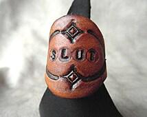 Leather BDSM Ring, Slut Ring, Bondage Jewellery, Kinky Rings Mature Ring, Kinky Gift, Submissive Gift, Leather Fetish, Statement Ring, Kink