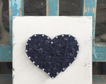 Navy blue string heart