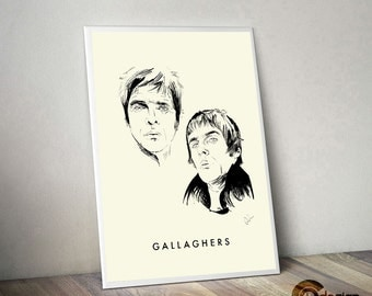 Oasis - brotherly love - the Gallaghers. Liam Gallagher, Noel Gallagher, Oasis, Manchester music, Madchester,  Indie, Britpop, 90's, poster