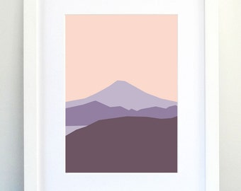 Landscape Art Print, Mountain Art, Purple Print, Abstract Landscape Print, Minimalist Print, Modern Home Decor!