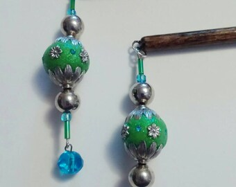 Green and Blue Beaded Hair Stick Jewelry
