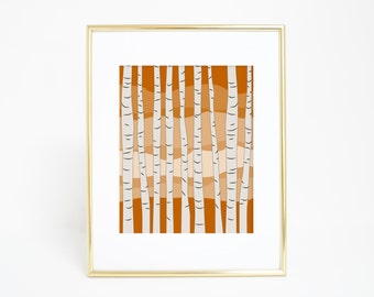 Birch Tree Print, Birch Trees, Autumn Decor, Orange Print, Fall Home Decor, Orange Art, Mountain Decor, Thanksgiving Decor Digital Prints