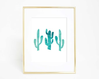 Watercolor Print, Cactus Print, Cactus Wall Art, Cacti Prints, Printable Wall Art, Turquoise Art Print, Wall Decor, Nursery Prints, Download