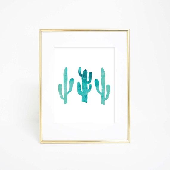 Watercolor Print, Cactus Print, Cactus Wall Art, Simple Prints, Printable Wall Art, Aqua Blue Print, Wall Decor, Nursery Prints, Download