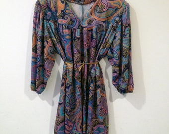 70's Mod Hippie Vintage Paisley Psychedelic Tunic Style Dress