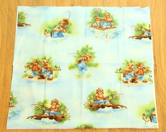 No Girls Allowed by Perry Wahe and Maywood Studio -- Bears Gone Fishing -- Only 1 Yd. Available -- 100 % Cotton