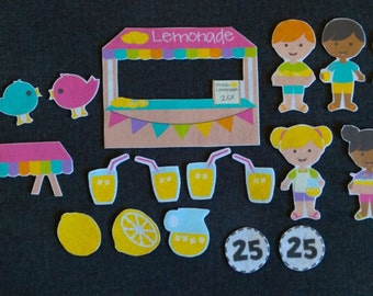 Lemonade Stand Felt Board Set// Flannel Board Story Set // Preschool // Teacher Story // Entrepenuer // Kids // Summer