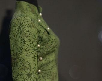 Digital Cheongsam Pattern, long sleeves , Mandarin Stand-up collar, Slanting Jin,Low Openings ,Size XXS\XS\S\M