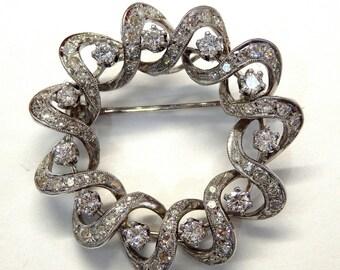 14k White Gold 2.25 ct Round Diamonds Spiral Brooch #252364557543