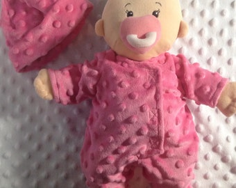 Baby Stella clothes (pink minky dimple dot sleeper with beannie)