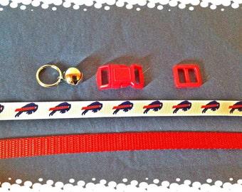 3/8 Wide Custom Made Adjustable Red or Blue Buffalo Bills Grosgrain Breakaway Cat Collar