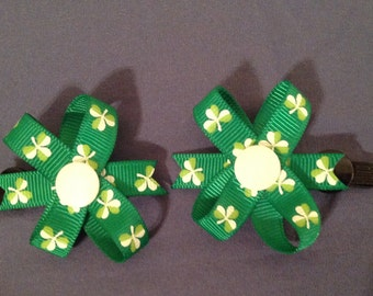 1 Pair of 2 inch St. Patrick's Day Grosgrain Snap in Bows