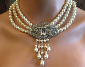 Pearl Wedding Necklace with Backdrop Rhinestone brooch multi strand 3 strands Swarovski Pearls in Cream Ivory vintage style bridal jewelry
