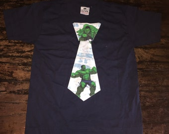 Boys' The Hulk Tie T-shirt Navy Blue - Size 5/6 Ready to Ship - Other Sizes Made To Order