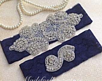 navy blue wedding garter, bridal garter, lace garter, vintage garter, something blue garter, vintage inspired lace garter, rhinestone garter