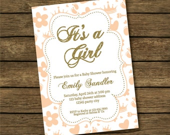 Printable Baby Shower Invitation, Baby Shower Invitation for Girl Pink Gold, Baby Shower Invitation Pink and Gold