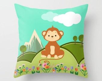 Nursery Pillow , Monkey Pillow , Nursery Room Decor , Childrens Throw Pillow , Animal Pillow , Kids Pillow , Nursery Cushion , Baby Gift