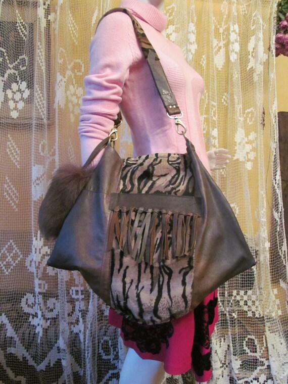 Bag with Italian antiqued leather, boho bag, colours; brown, black, beige, original bag, unique bag. ready to ship