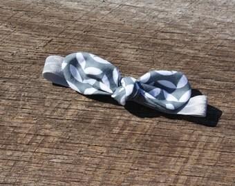 Grey and White Patterned Knot Elastic Headband, Newborn