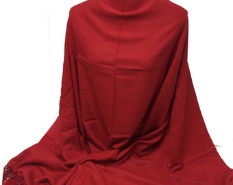 Red Pashmina Collection-Premium Quality Pashmina-Hand Made in Nepal-Pashmina-Shawl-Scarf-Wrap-Soft-Warm-Gift-Beaded Tassels