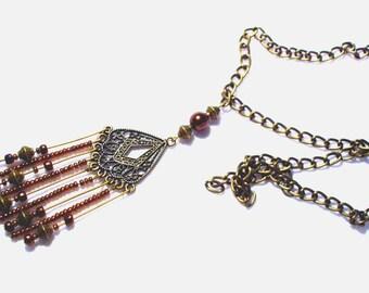 Necklace Bohemian bronze, pendant and bronze beads