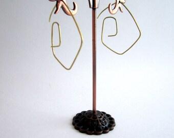 geometric earrings brass