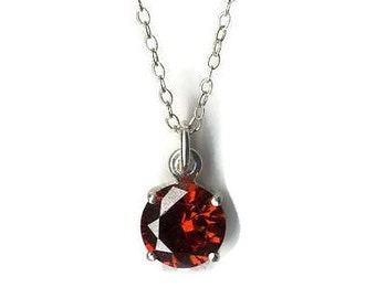 5.00 OFF! Red cubic zirconia and sterling silver pendant