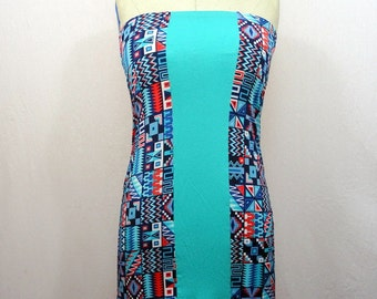 Two-tone strapless short Jersey Indian motif