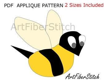 Buzzybee Applique  PDF Template Pattern - available for instant download from ArtFiberStitch