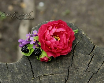Flowers brooch, cold porcelain, peony brooch, bride peony, blackberry hairclip, spring jewelry, shabby chic brooch, peony accessory