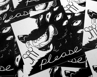 Polite Dog - Say Please Vinyl 2.75x2.75 Sticker