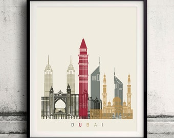 Dubai skyline poster 8x10 in. to 12x16 in. Fine Art Print Glicee Poster Gift Illustration Artistic Colorful Landmarks - SKU 1140