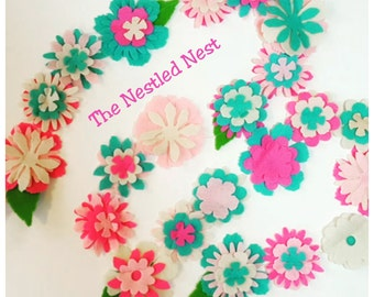 Flower Garland, Coral,Cream and Pink ,spring time,felt garland