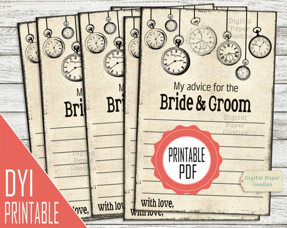 Printable Wedding Advice Cards For The Bride And Groom DIY