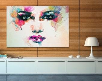 Canvas Print - WOMAN EYES WATERCOLOUR - (22601)