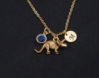 dinosaur necklace, initial necklace, birthstone necklace, gold triceratops charm, birthday present, paleontology, jurassic, dino pendant