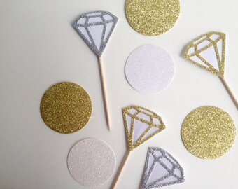 Diamond Engagement or Wedding Party  Glitter Canape,CupcakeToppers