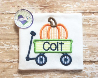 Personalized Fall Shirt with Applique Pumpkin Wagon - Monogrammed Wagon Shirt - Fall Shirt - Boys Pumpkin Shirt - Boys Fall Shirt