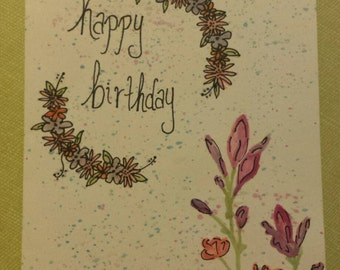 Double Floral Watercolor Birthday Card