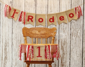 SET My First Rodeo Burlap Banners, Cowboy Cowgirl 1st First Birthday, Rodeo High Chair Banner, Western Rodeo Birthday, Western Banner Set