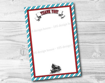 Train Thank You Card Printable 4x6 INSTANT DOWNLOAD - Printable Train Party Thank You Card - Train Birthday - Watermarks Removed