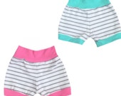 Grey stripe shorts, baby bottoms, pants, baby leggings, baby girl, toddler shorts, baby boys, baby girls, unisex, gender neutral, mint