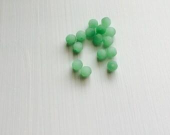 15 Opaque Mint Matte Faceted Czech Rounds, 8mm, 15pcs, Opaque, Mint, Rounds, Bead Supplies