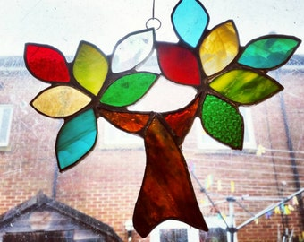 Unique Tree of Life stained glass sun catcher