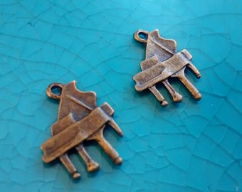 2 piano bronze plated charms pendants DIY bracelets earrings necklaces jewellery making charms