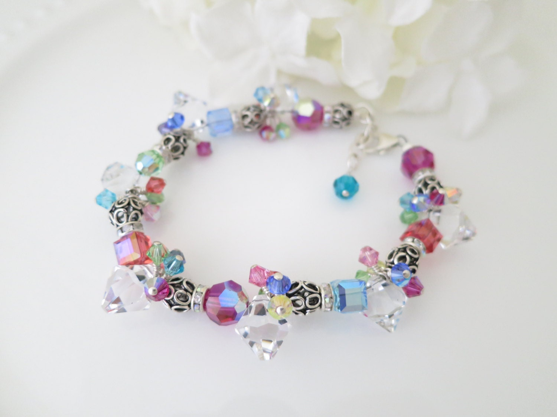 Swarovski crystal bracelet, Multi-color cluster bracelet, Unique style bracelet