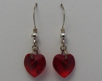 Swarovski Crystal Heart Sterling Silver Earrings