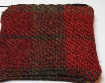 Harris Tweed Coin Purse Red Green